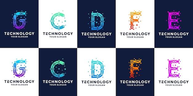 Set of letters g c d f e initials technology logo design