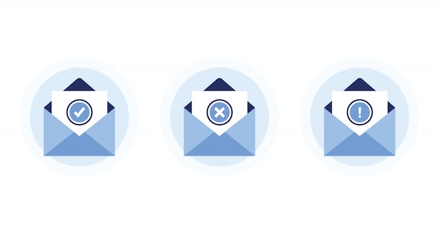 Set letters in open envelopes. receive and send messages. confirmation, error, warning. with approved and rejected letters. newsletter subscription. blue