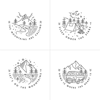 Set liear icon and logos mountains