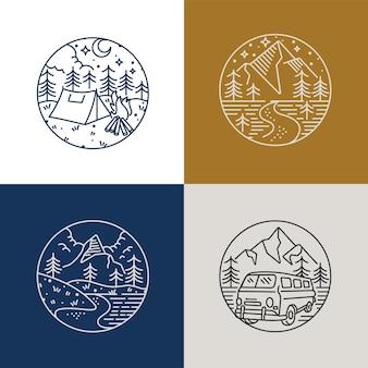 Set liear icon and logos mountains