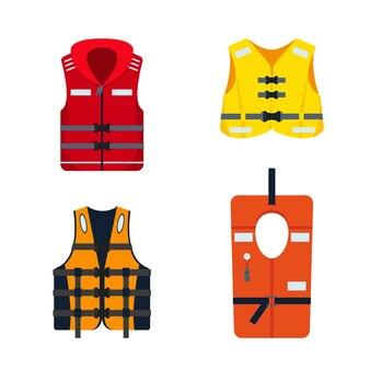 Set of life jackets isolated on white background.