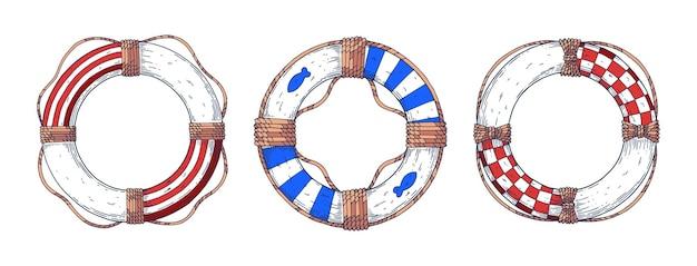 A set of lifebuoys.