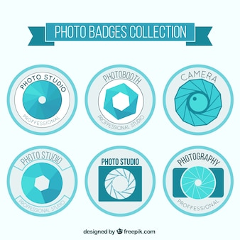 Set of light blue retro photography labels