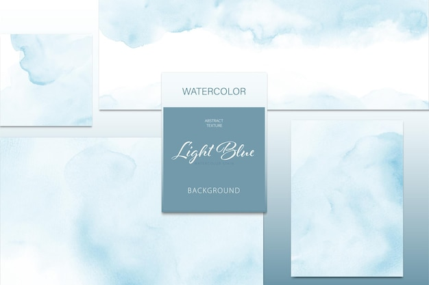 Set of light blue watercolor stain banner and card set