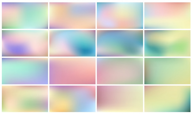 Set of light coloured backgrounds with gradients in pastel colors