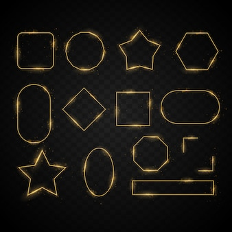 Set of the light frames, golden abstract transparent light effect background, abstract glowing objects