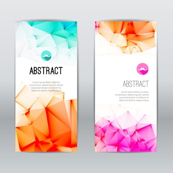 Set of light polygonal and triangular geometric banners