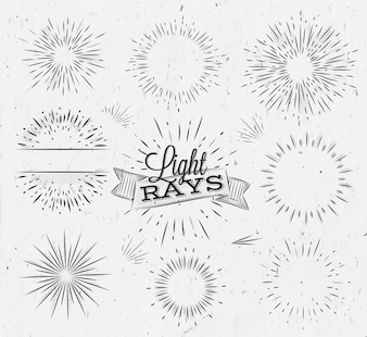 Set light ray in vintage style stylized drawing with coal