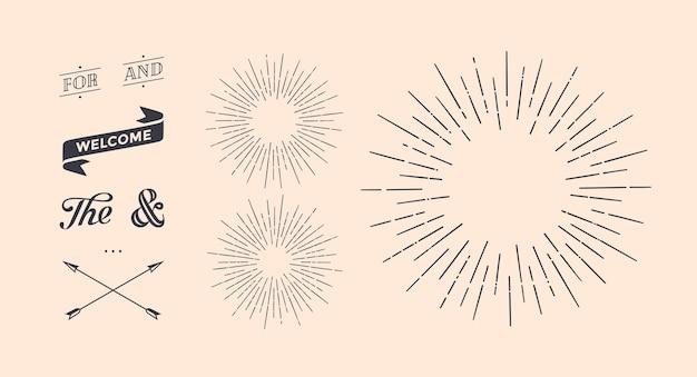 Set of light rays, sunburst and rays of sun.