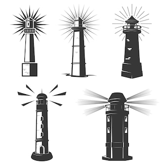 Set of lighthouses icons