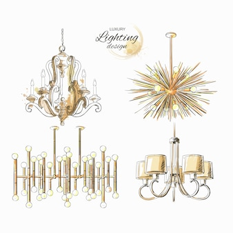Set of lighting chandelier
