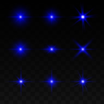 A set of lighting effects, lights and sparks. blue light on a transparent background.
