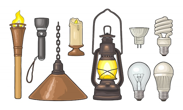 Set lighting object. torch, candle, flashlight, different types electric lamps