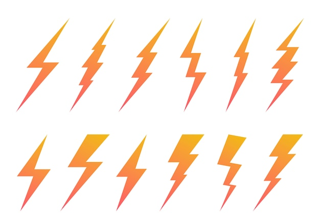 Set of lightning bolt symbol.