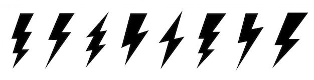 Set lightning bolt. thunderbolt flat style