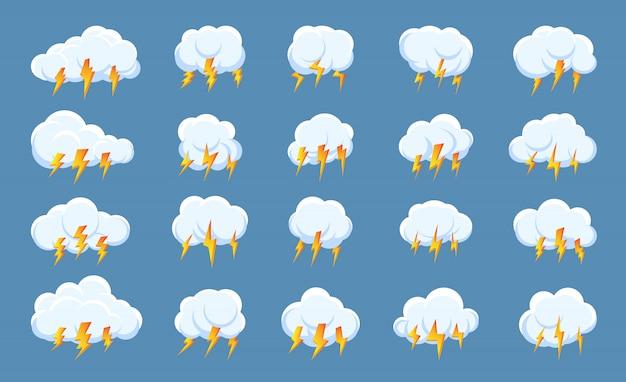 Set of lightning bolt thunderstorm cloud icons.