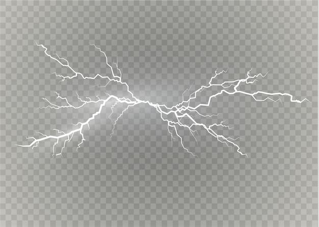 A set of lightning magic and bright light effects.  illustration.