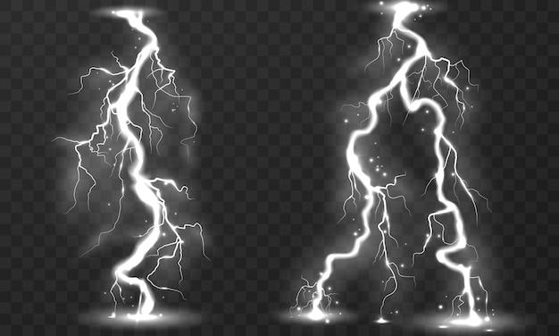 Set of lightning storm on transparent background