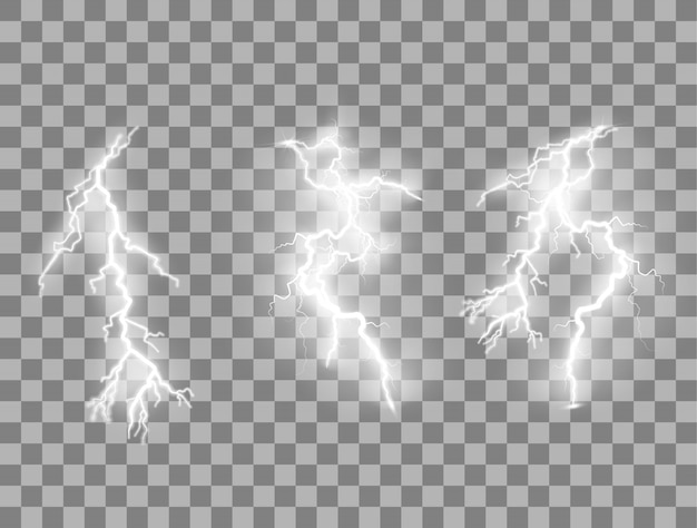Set of lightnings magic and bright lighting effects.