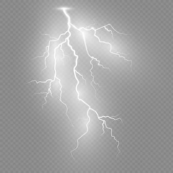 Set of lightnings. thunder-storm and lightnings. magic and bright lighting effects.  illustration