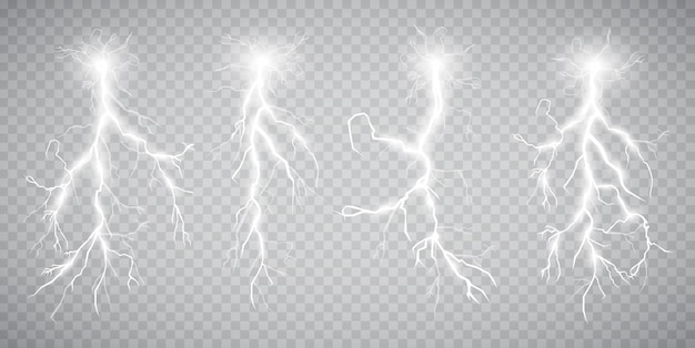 Set of lightnings. thunder-storm and lightnings. magic.