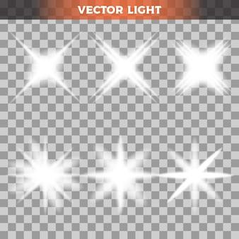 Set of lights on transparent background
