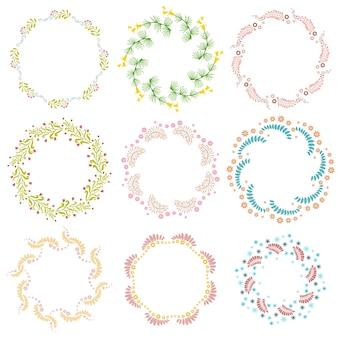 Set of line art decorative elements