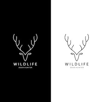 라인 아트 사슴 사냥 야생 동물 야외 로고 벡터 일러스트 디자인을 설정