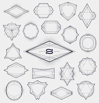 Set of line art frames with stipple gradient -  illustration