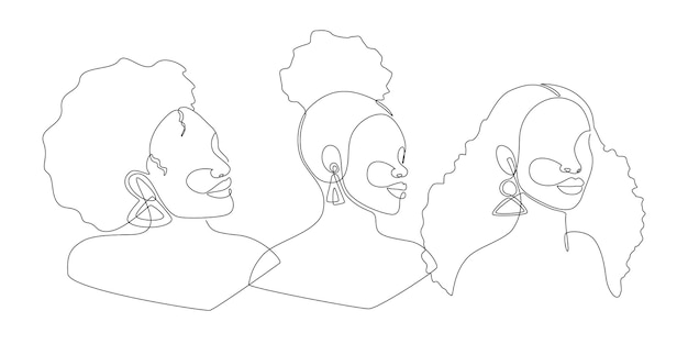 Set of line art portrait african american women. continuous one line drawing woman face