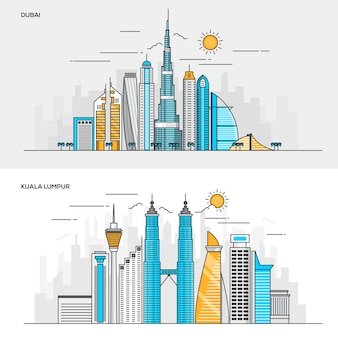 Set of  line color banners  s for city of dubai and kuala lumpur. concepts web banner and printed materials.  illustration