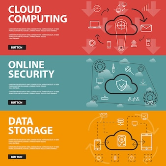 Set of line design trendy web banners for cloud computing, online security and data storage. outline style vector concepts, can be used for web design, banner design, and graphic design.