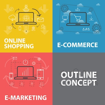 Set of line design trendy web banners for online shopping, e-commerce and e-marketing. outline style vector concepts, can be used for web design, banner design, and graphic design.