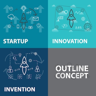 Set of line design trendy web banners for startup, innovation and invention. outline style vector concepts, can be used for web design, banner design, and graphic design.