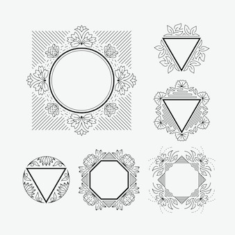 Set of line frames with floral and geometrical elements.