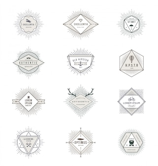 Set of line signs and emblems with sunburst rays