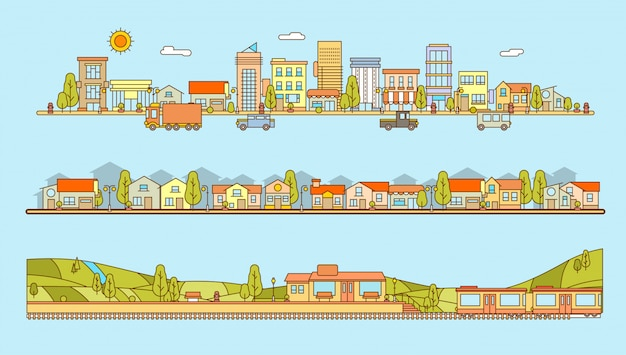 Set of line style cityscape, housing complex and train station with village scenery and hills flat illustration