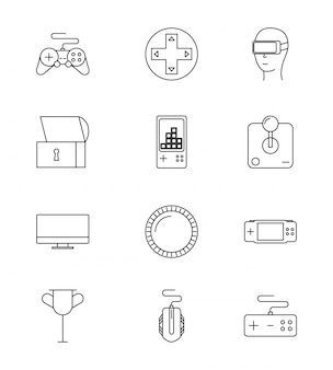 Set of line video games icons