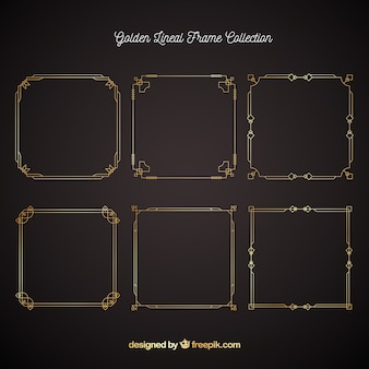 Set of lineal frames in golden style