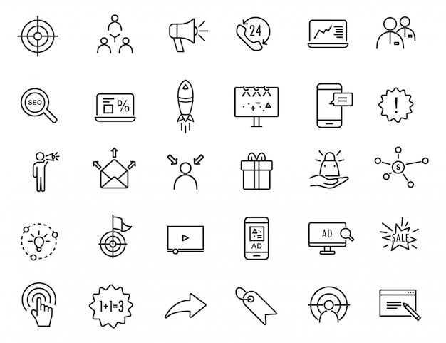 Set of linear advertising icons. marketing icons in simple design.