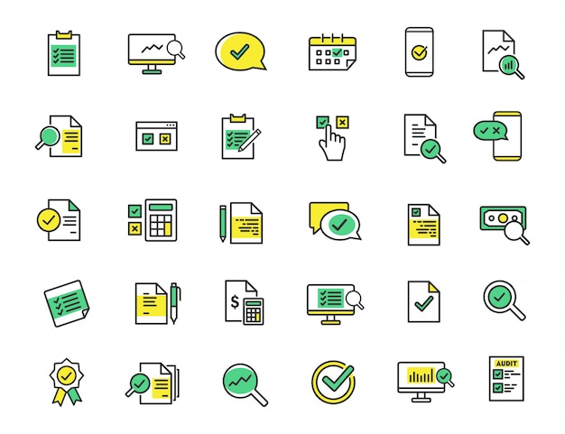 Set of linear audit icons inspection icons
