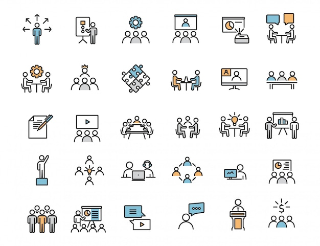 Set of linear business training icons workshop icons