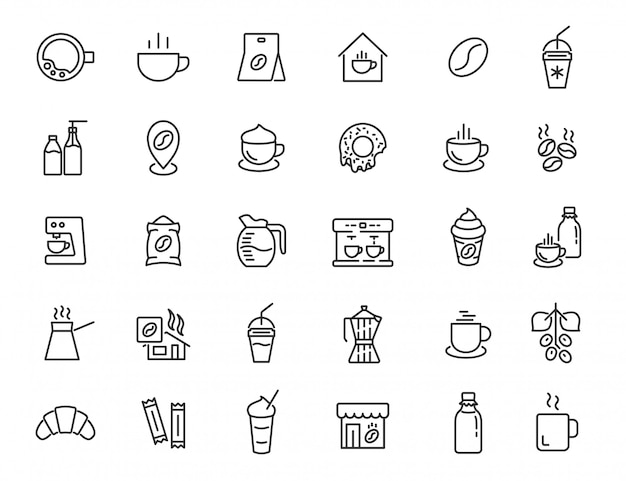 Set of linear coffee house icons. coffee drink icons in simple design. vector illustration