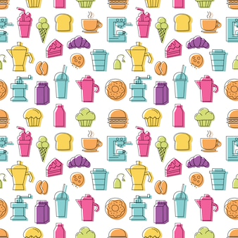 Set of linear colorful icons for coffee shop pattern seamless with white background.