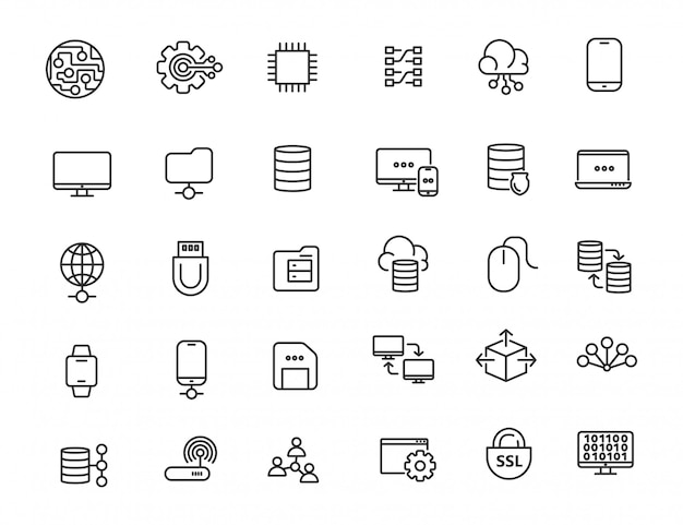 Set of linear computer technology icons
