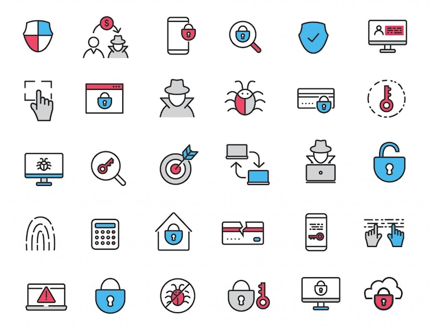 Set of linear criminal icons security icons