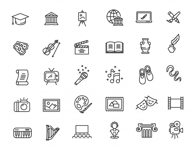 Set of linear culture icons