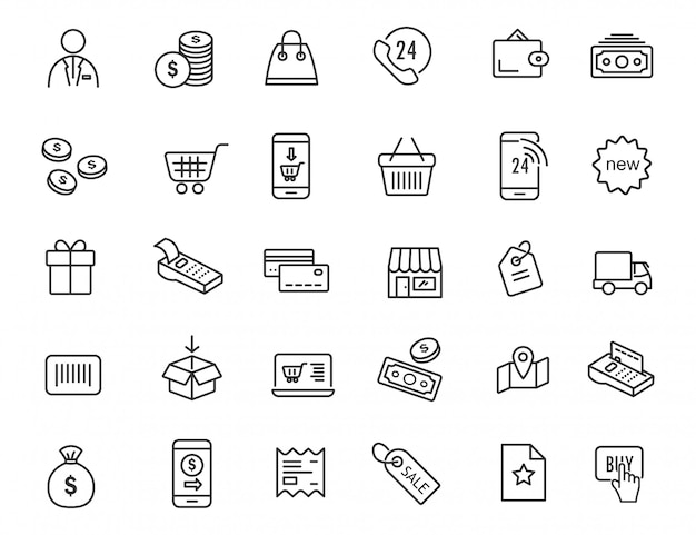 Set of linear e-commerce icons. shopping icons in simple design.