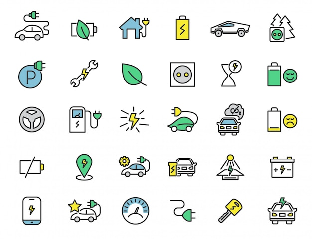 Set of linear electric car icons chrager station icons