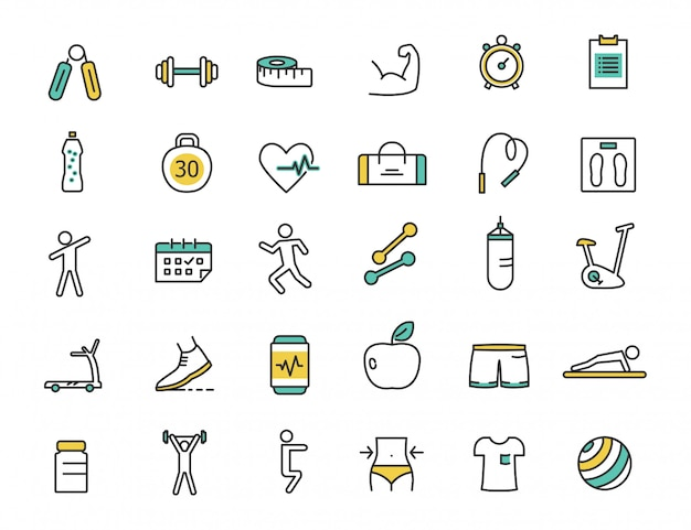 Set of linear fitness icons gym icons